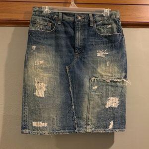 Distressed Polo Ralph Lauren Denim Skirt sz 4
